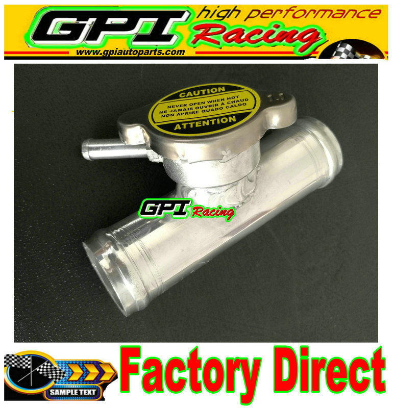 "38MM POLISHED ALUMINUM IN LINE RADIATOR HOSE FILLER NECK CAP 1-1/2"" GPI"